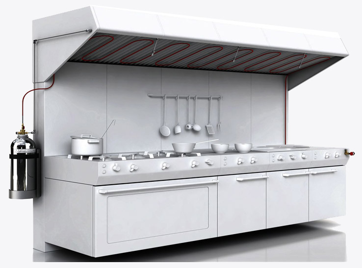 Commercial Kitchen Schematic Diagram Fire Suppression System Gurgaon Noida, Novec 1230